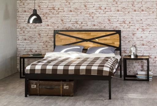łóżko Metalowe 120x200 Drewniane Dębowe Wezgłowie