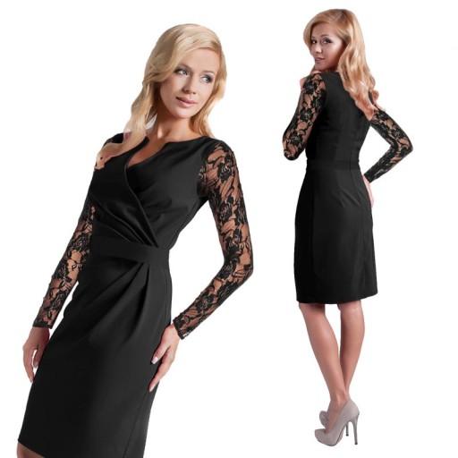 e1bd9c53b5 Wizytowa Elegancka Sukienka Koronkowe Rękawy R 46 7530686539 ...