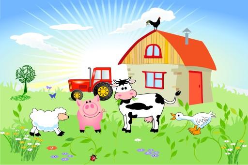Fototapeta dla dzieci farma zwierzęta, traktor 9441845736 - Allegro.pl