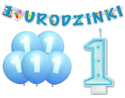 Zestaw Urodzinowy Dekoracje Na Roczek 1 Urodziny 6942188622 Allegropl