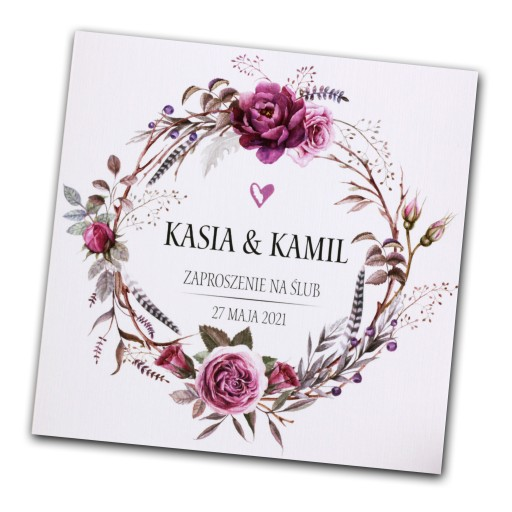 Zaproszenia ślubne Wianki Rustykalne Kwiatowe Boho 7265446095