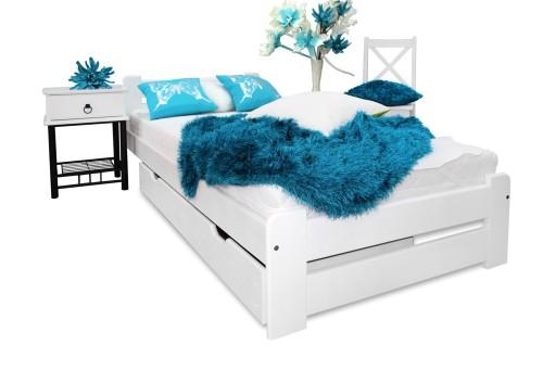 Super Łóżko drewniane EUREKA białe 80x200 +stelaż NOWOŚĆ 6554424280 CG99