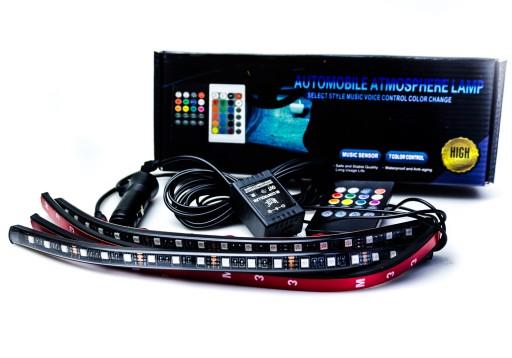 4x OŚWIETLENIE WNĘTRZA KABINY RGB 30cm LED + PILOT 7367363399