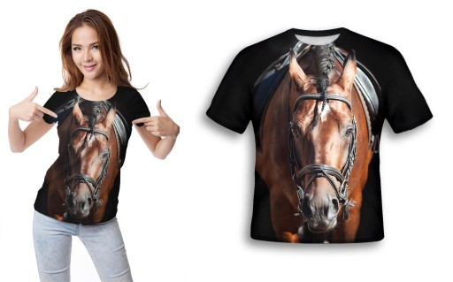 KOSZULKA FULLPRINT T-shirt KOŃ S MŁODZIEŻOWA MODNA