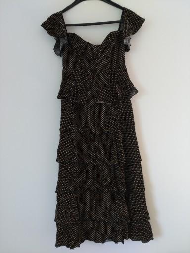 c1d225b188 NA-KD Czarna długa sukienka falbany kropki 36 7561505504 - Allegro.pl -  Więcej niż aukcje.