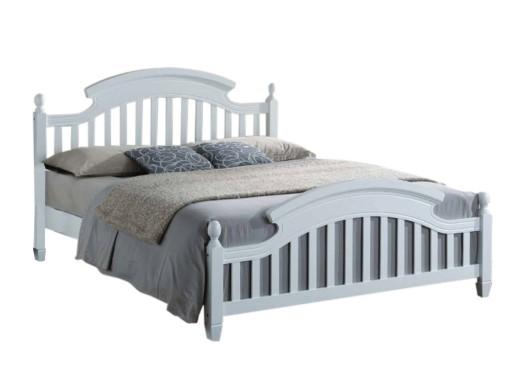 łóżko 160x200 Drewniane Białe Prowansja Stelaż