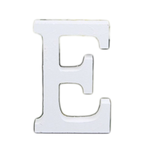 Litera Literka Drewniana E Biała, Napis 3D, 16cm