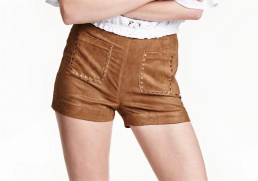 H&M styl HIPPIE szorty eko skóra zamsz 42 L