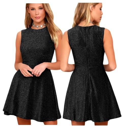 d0833a4a7c Sukienka koktajlowa mieniaca brokatowa czarna S-XL 7685419439 - Allegro.pl  - Więcej niż aukcje.