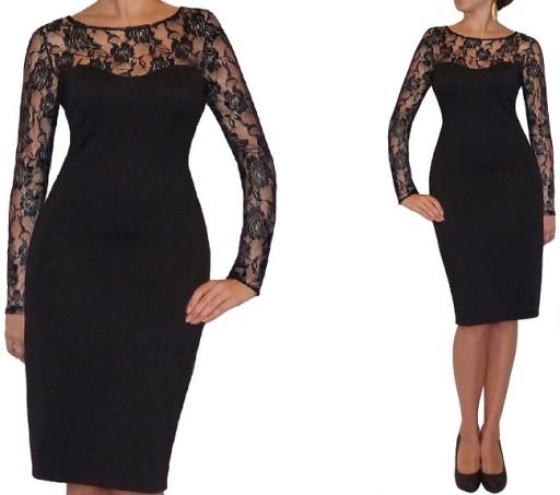 6a0db638 R ołówkowa CZARNA sukienka koronka 44 Dłuższa ?