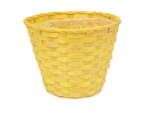 Duża Osłona Osłonka Doniczka Bambusowa żółta 23 Cm
