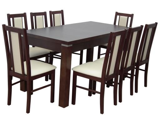 Stół 90x170x250 + 8 krzeseł