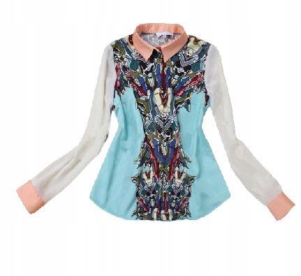 Women's shirt, colorful, ethno, fashion, S 36 9664446890 Odzież Damska Topy YB PBOSYB-2