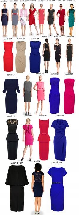 CAMILL 147 czerwona wyszczuplająca sukienka 46 8749257826 Odzież Damska Sukienki wieczorowe HN COTDHN-9