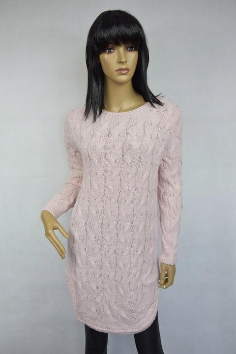 Uroczy SWETEREK TUNIKA pleciony warkocz - kolory! 7559129125 Odzież Damska Swetry MZ NRDDMZ-3