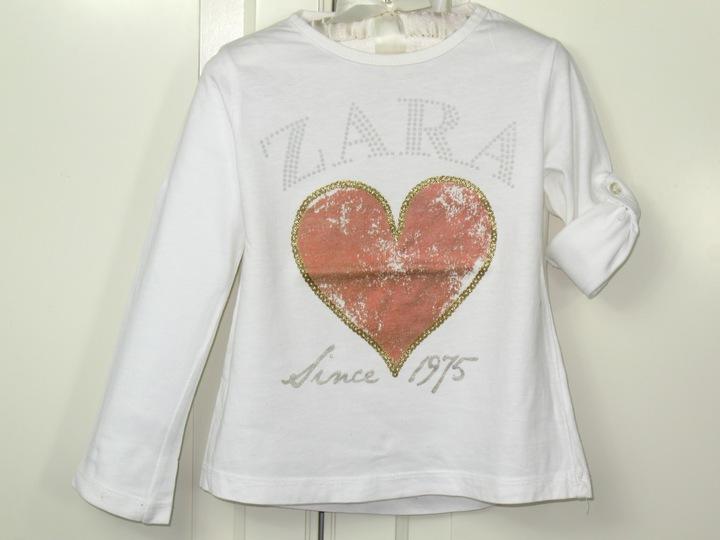 ZARA bluzeczka z serduszkiem CUDO 98cm, 2-3 lata 9908568266 Dziecięce Odzież KI CSRJKI-2