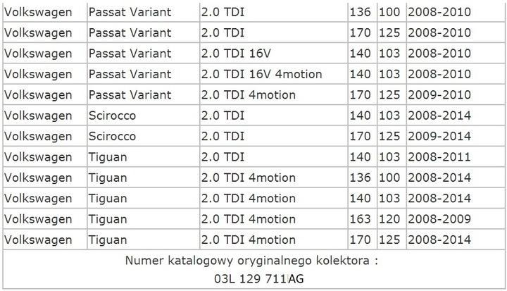 KOLEKTOR SSĄCY 2.0 TDI COMMON RAIL 03L 129 711 AG